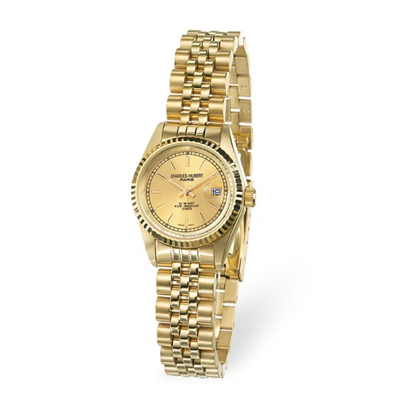 Ladies Charles Hubert 14k Gold-plated Champagne Dial Watch No. 6635-GW