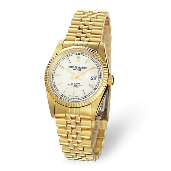 Mens Charles Hubert 14k Gold-plated Champagne Dial Watch No. 3635-GY