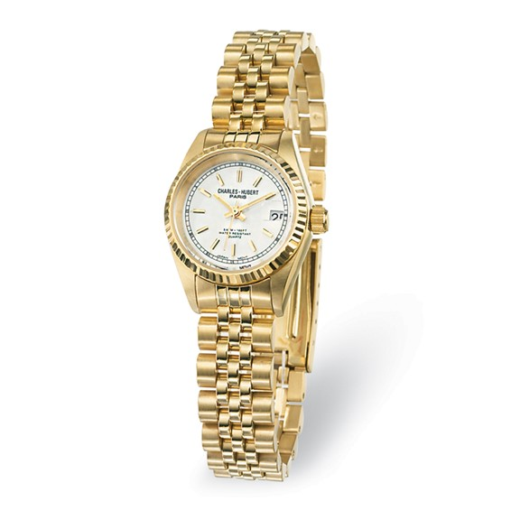 Ladies Charles Hubert 14k Gold-plated Off White Dial Watch No. 6635-GY
