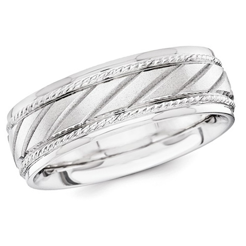 14kt White Gold 6.50mm Laser-cut Wedding Band with Grooves