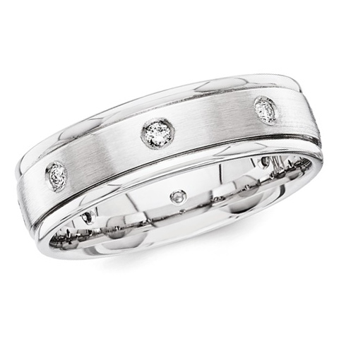 14kt White Gold 1/5 ct Diamond 6mm Wedding Band