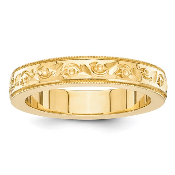 14kt Yellow Gold 5mm Floral Wedding Band with Milgrain