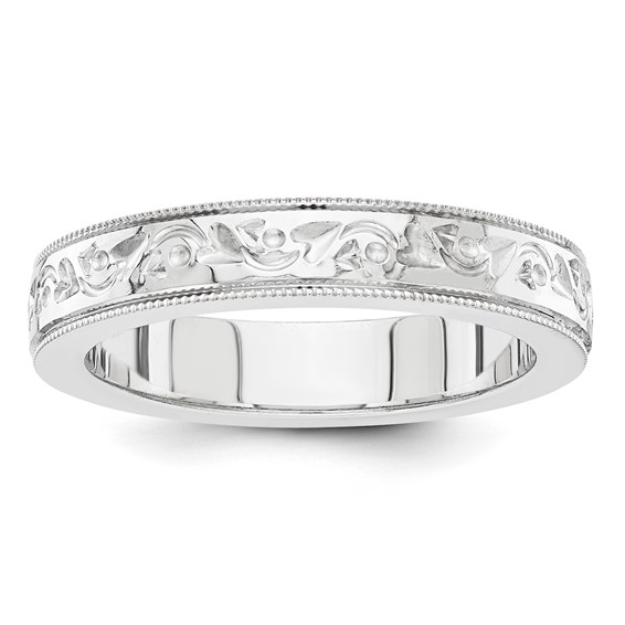 14kt White Gold 5mm Floral Wedding Band with Milgrain