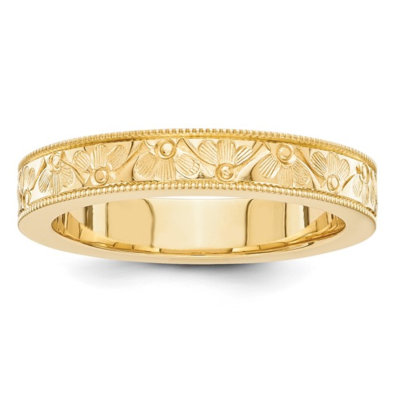 14kt Yellow Gold 4mm Fancy Wedding Band