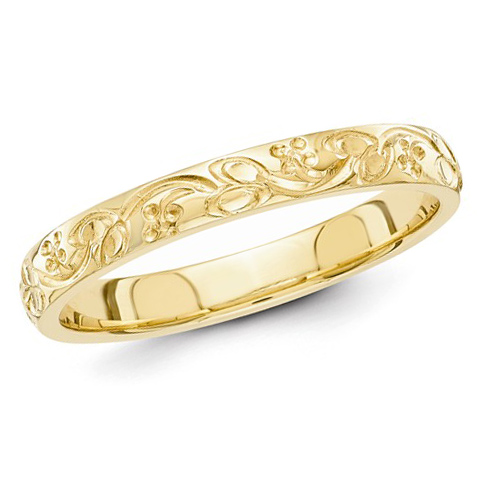 14kt Yellow Gold 3mm Hand Engraved Floral Wedding Band