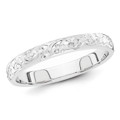 14kt White Gold 3mm Hand Engraved Floral Wedding Band