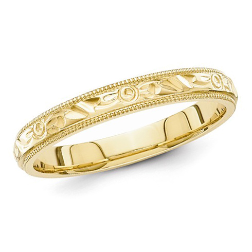 14kt Yellow Gold 3mm Hand Engraved Wedding Band