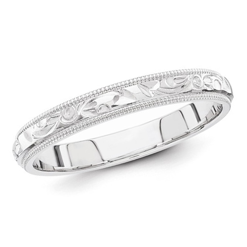 14k White Gold 3mm Hand Engraved Milgrain Wedding Band