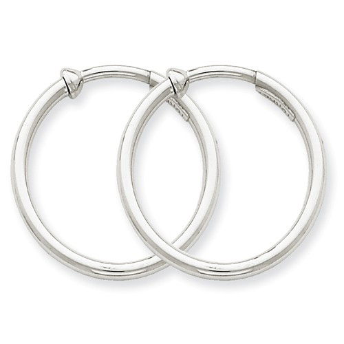 14kt White Gold 7/8in Round Non-Pierced Hoop Earrings 2mm