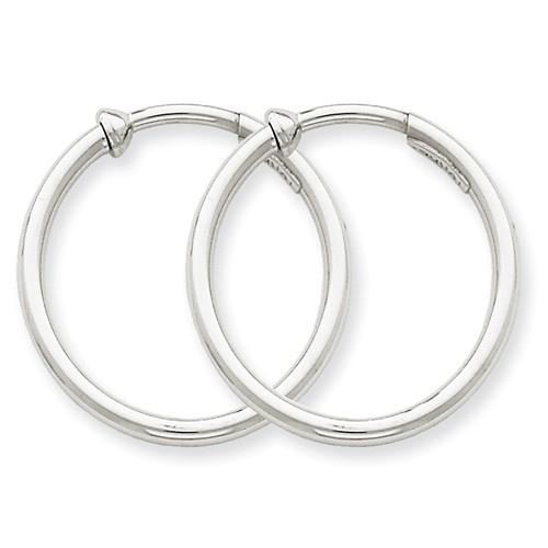 14kt White Gold 7/8in Round Non-Pierced Hoop Earrings 2mm