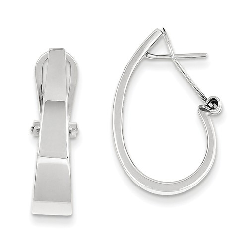 14kt White Gold 7/8in Tapered Smooth J Hoop Earrings