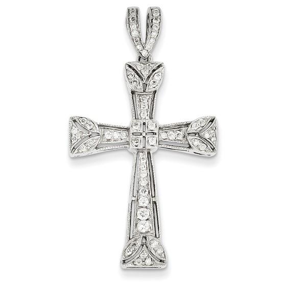 14kt White Gold 1 5/8in Diamond Filigree Cross Pendant