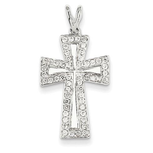 14kt White Gold 7/8in Diamond Cross Pendant