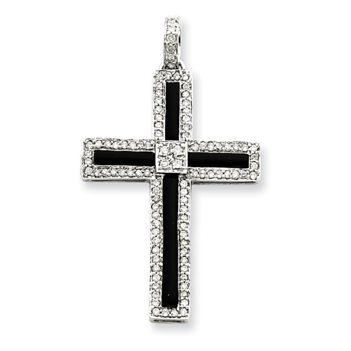 14kt White Gold 1 1/2in Diamond & Onyx Cross Pendant