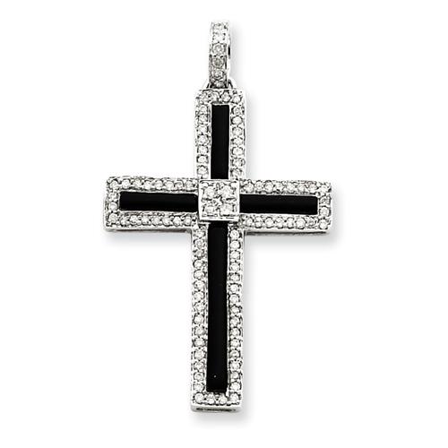14k White Gold 1/3 ct tw Diamond & Onyx Cross Pendant 1 1/2in
