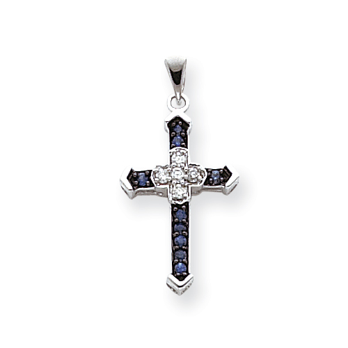 14kt White Gold 7/8in Diamond and Sapphire Cross Pendant
