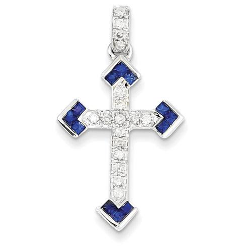 14kt White Gold 1 5/16in Diamond & Sapphire Cross Pendant