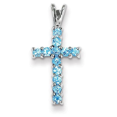 14kt White Gold 11/16in Blue Topaz Cross Pendant