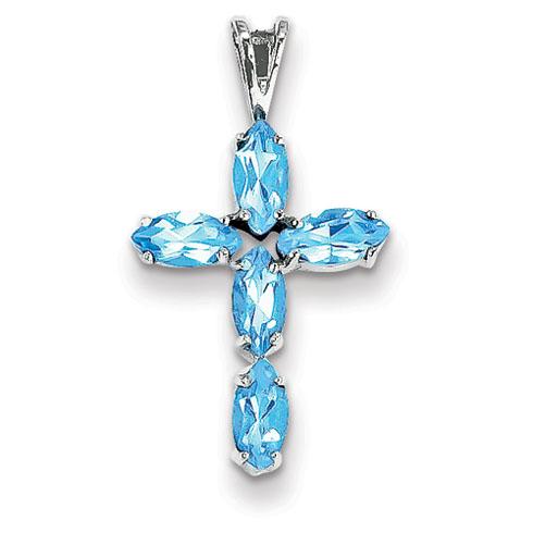 14kt White Gold 3/4in Blue Topaz Cross Pendant