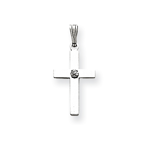 14kt White Gold 11/16in Cross with Diamond Accent