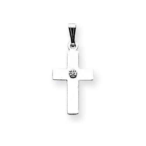 14kt White Gold 11/16in .01ct. Diamond Cross Pendant