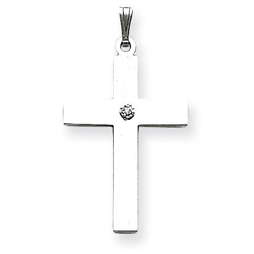 14kt White Gold 1 1/8in .02ct. Diamond Cross Pendant