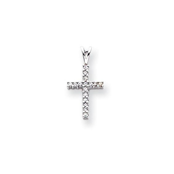 14kt White Gold 1/2in Diamond Latin Cross Pendant