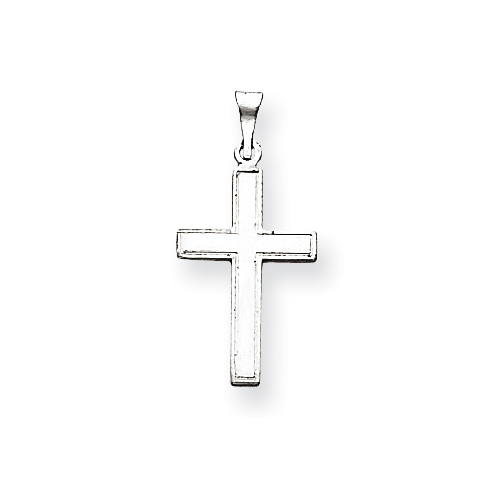 14k White Gold Florentine Latin Cross Pendant 11/16in