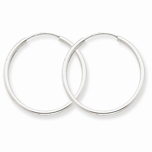 14kt White Gold 7/8in Endless Hoop Earrings 1.5mm