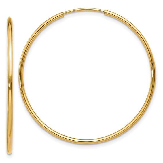 14kt Yellow Gold 1 1/4in Endless Hoop Earrings 1.25mm