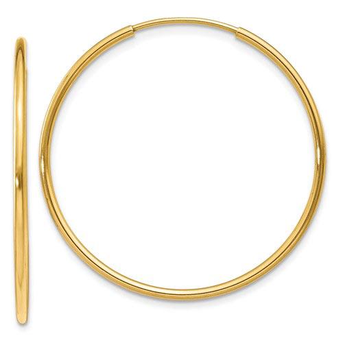 14kt Yellow Gold 1in Endless Hoop Earrings 1.25mm