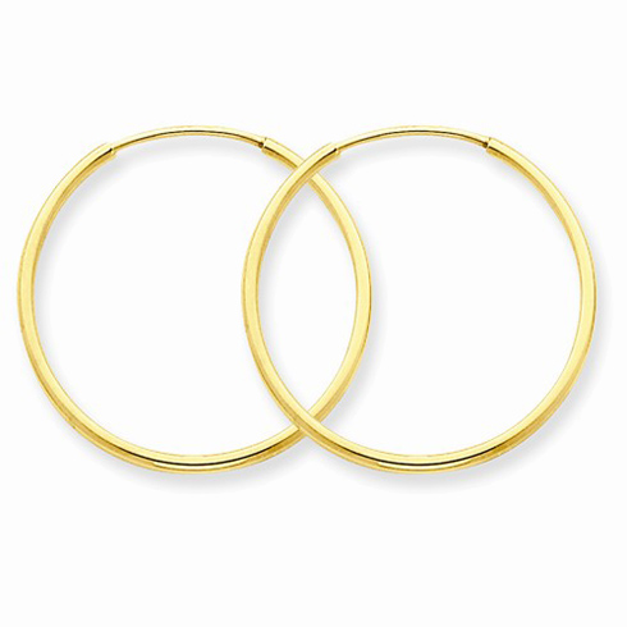 14kt Yellow Gold 7/8in Endless Hoop Earrings 1.25mm
