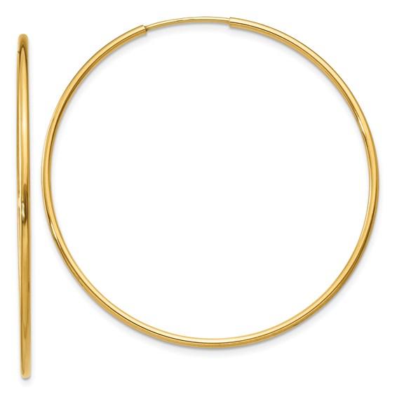14kt Yellow Gold 1 3/4in Endless Hoop Earrings 1.25mm