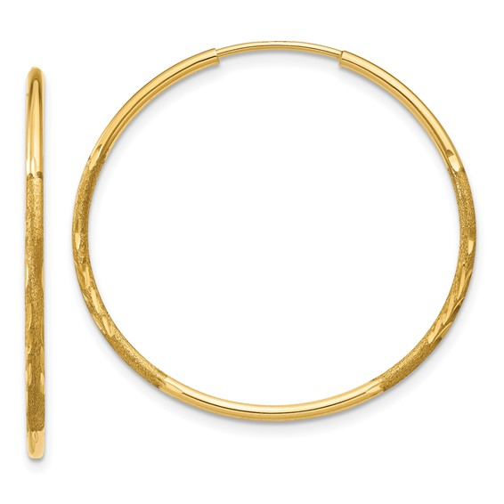 14kt Yellow Gold 1in Satin Endless Hoop Earrings 1.25mm