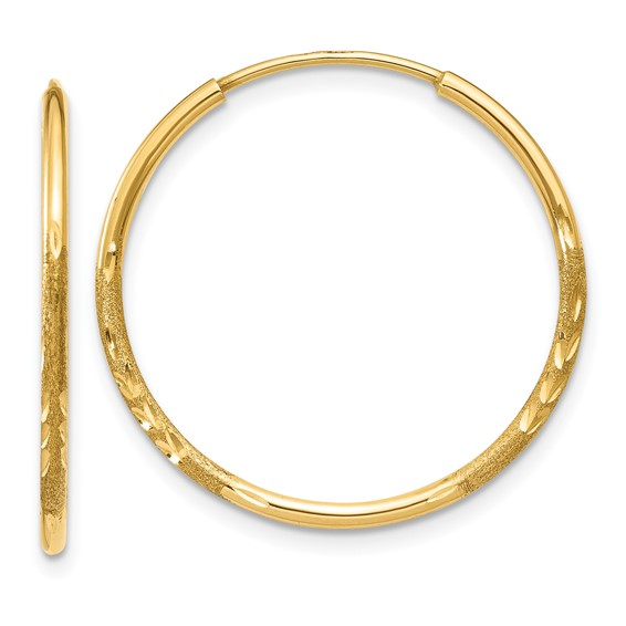 14kt Yellow Gold 7/8in Satin Endless Hoop Earrings 1.25mm