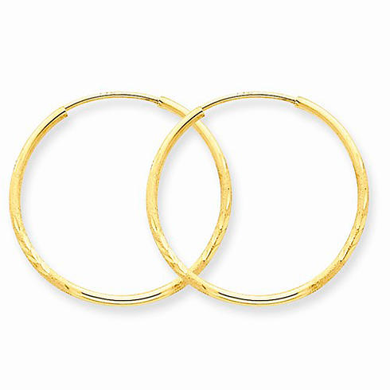 14kt Yellow Gold 7/8in Satin Endless Hoop Earrings 1.25mm