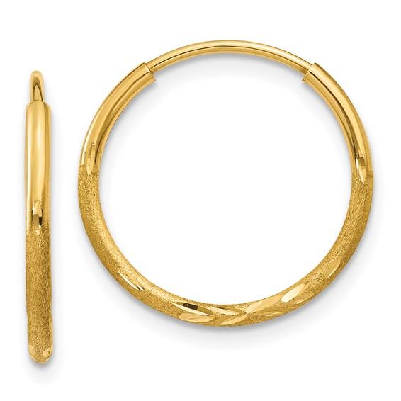 14kt Yellow Gold 5/8in Satin Endless Hoop Earrings 1.25mm