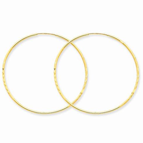 14kt Yellow Gold 1 3/4in Satin Endless Hoop Earrings 1.25mm