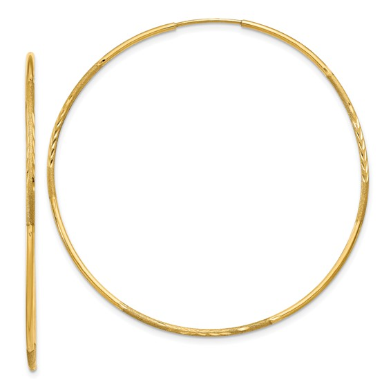 14kt Yellow Gold 2in Satin Endless Hoop Earrings 1.25mm