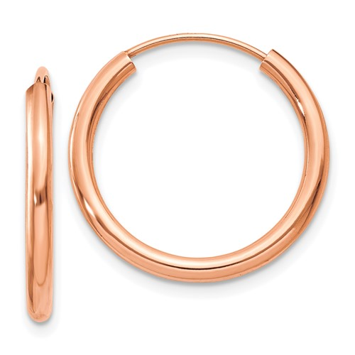 14k Rose Gold 3/4in Endless Hoop Earrings 2mm
