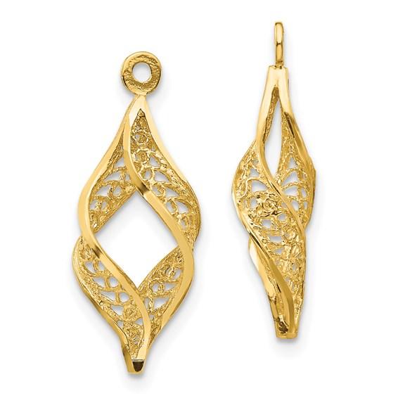 14kt Yellow Gold Swirl Filigree Earring Jackets