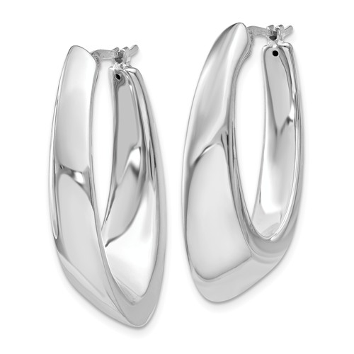 14kt White Gold 1in Slanted Oval Hoop Earrings