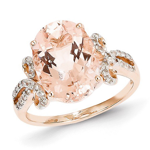 14k Rose Gold 5 1/2 ct Oval Morganite Ring with 1/6 ct Diamond Accents