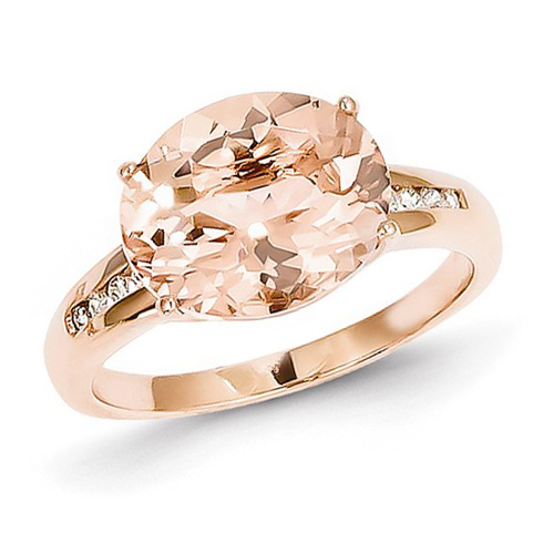 14kt Rose Gold 4.2 ct Oval Morganite Ring with 1/15 ct Diamond Accents