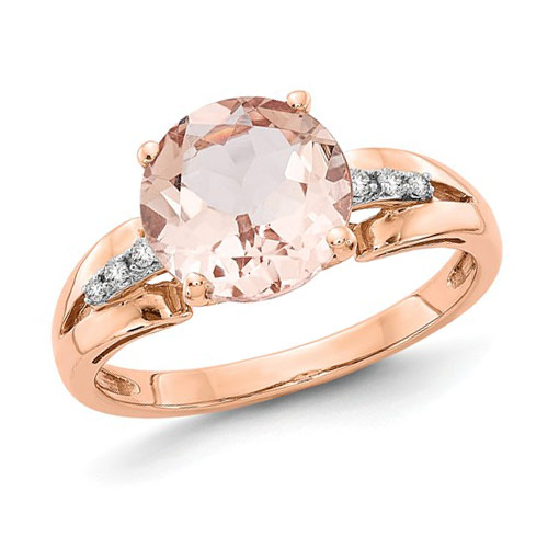 14k Rose Gold 2.7 ct Round Morganite Ring with .05 ct Diamond Accents