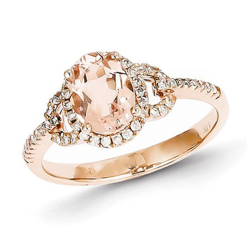 14kt Rose Gold 1 1/4 ct Oval Morganite Ring with 1/4 ct Diamond Accents