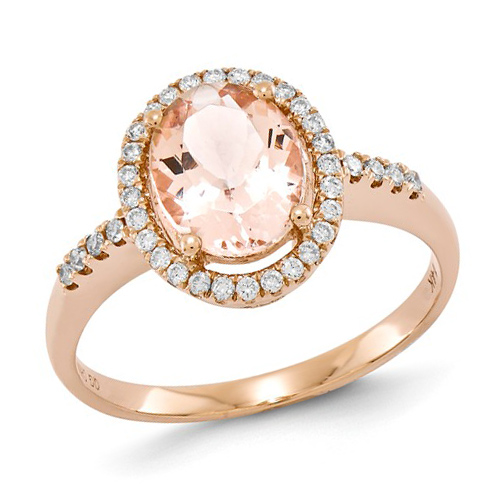 14kt Rose Gold 1 1/2 ct Oval Morganite Ring with 1/5 ct Diamond Accents