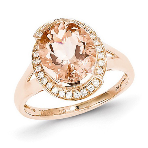 14kt Rose Gold 3.3 ct Oval Morganite Split Shank Ring with 1/8 ct Diamond Accents
