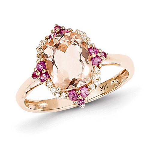14kt Rose Gold 2.25 ct Morganite and Pink Sapphire Ring with 1/15 ct Diamond Accents