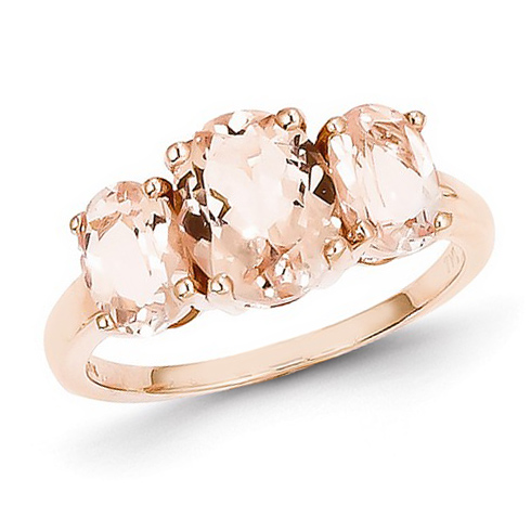14kt Rose Gold 3.15 ct Three-Stone Oval Morganite Ring